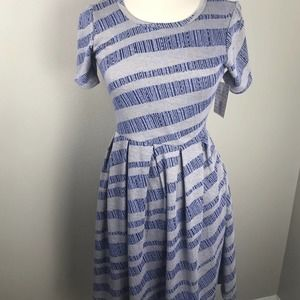 LuLaRoe Amelia Dress Gray Blue Yellow Stripes